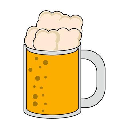 beer glass fresh alcoholic drink cartoon vector illustration graphic design Stock Illustratie