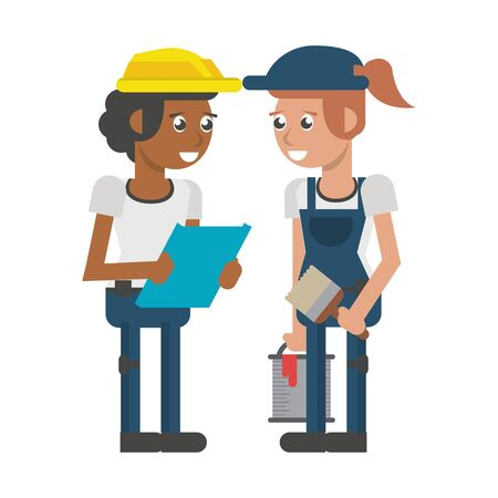 Construction workers with clipboard and paint bucket vector illustration graphic design