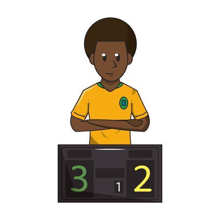 Soccer player and scoreboard sport game cartoon vector illustration graphic design