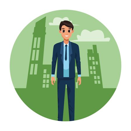 Young man greeting with formal clothes cartoon in the city scenery round icon vector illustration graphic design