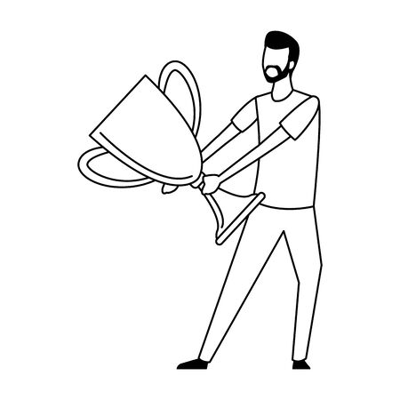 avatar man holding a big trophy icon over white background, vector illustration