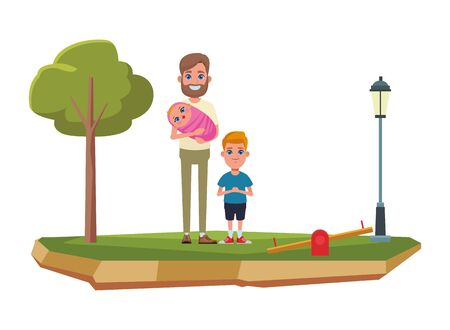 family avatar father with beard holding a baby next to a child profile picture cartoon character portrait outdoor over the grass Banque d'images - 133108942