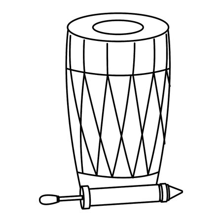 drum mridangam with firecracker icon cartoon isolated in black and white vector illustration graphic design