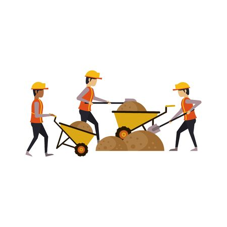 construction architectural engineering work, workers making heavy work in construction site cartoon vector illustration graphic design Ilustracja