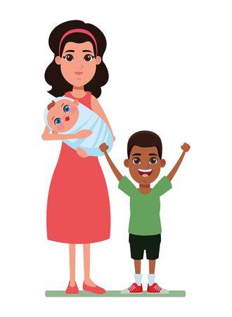 Familia avatar madre con pañuelo sosteniendo un bebé junto a niño afroamericano imagen de perfil personaje de dibujos animados retrato ilustración vectorial diseño gráfico