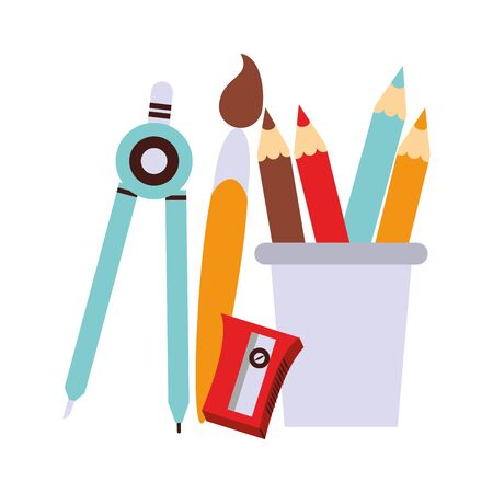 Back to school education compass and brush paint with pencils and sharpener cartoons vector illustration graphic design