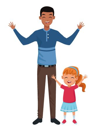Family single father with little daughter cartoon vector illustration graphic design Ilustração