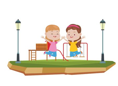 Happy kids girls playing and having fun at park with playgrounds ,vector illustration graphic design.