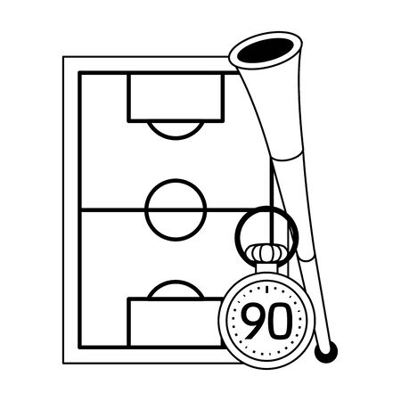 Soccer play field with horn and timer symbols vector illustration graphic design