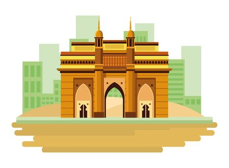 indian building monuments with charming icon cartoon over the sand in the desert with building skyscraper and cityscape silhouette vector illustration graphic design