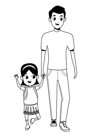 Family single father with kid holding school backpack isolated vector illustration graphic design Ilustração