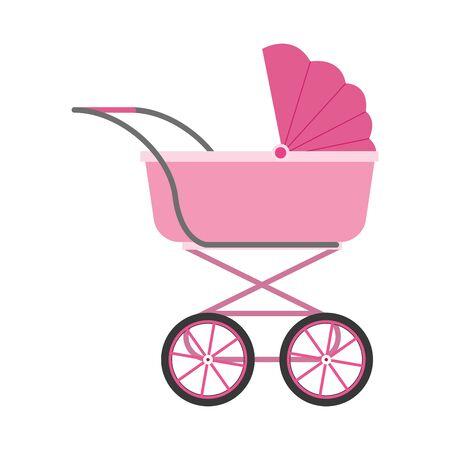 baby carriage icon over white background, vector illustration Illusztráció