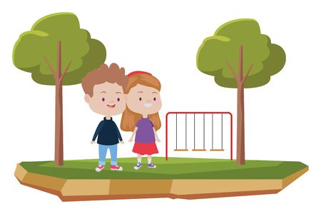 Happy kids boy and girl smiling and playing at park with playgrounds ,vector illustration graphic design.