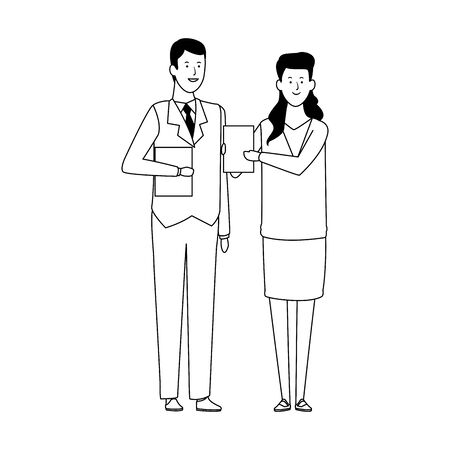 business woman and man with documents icon over white background, vector illustration