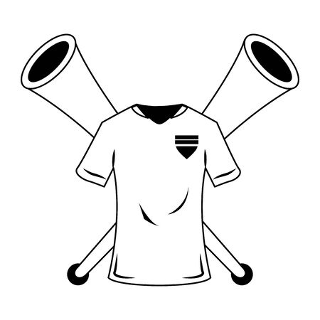 Soccer sport game tshirt and horns isolated vector illustration graphic design