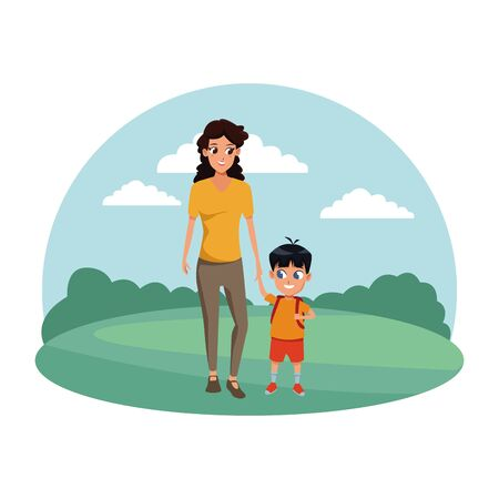 Family single mother with kid son holding school backpack in the nature park scenery ,vector illustration.