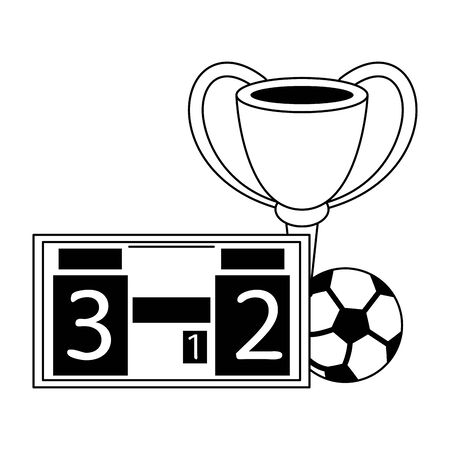 Soccer trophy cup tournament with scoreboard and ball vector illustration graphic design