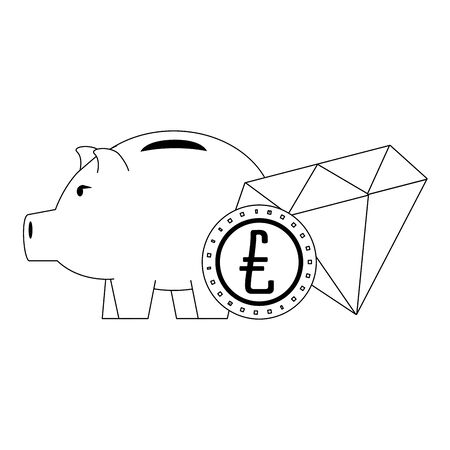 Money piggy with coin and diamond symbols in black and white vector illustration