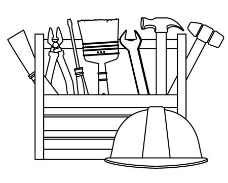 Construction tools and equipment toolbox with helmet cartoons vector illustration graphic design. Ilustracja