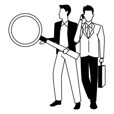 Two business partners working, executive entrepreneur teamwork ,vector illustration graphic design.