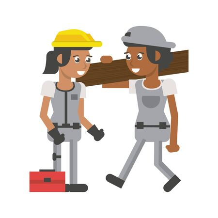 Construction women workers holding wooden plank and toolbox