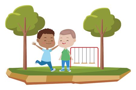 happy kids boys playing and having fun at park with playgrounds ,vector illustration graphic design.