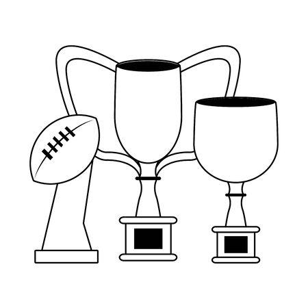 american football sport game champion silver trophies cartoon vector illustration graphic design