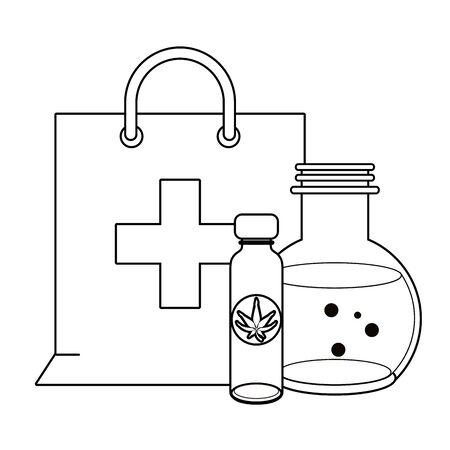 cannabis marijuana medical marijuana medicine sativa hemp oil bottles cartoon vector illustration graphic design Иллюстрация