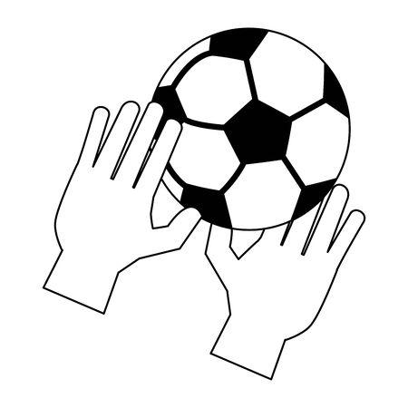 Soccer golakeeper gloves with ball sport cartoon vector illustration graphic design Ilustracja
