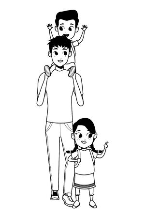 Alleinerziehender Vater der Familie mit Kind, das Schulrucksackvektorillustrationsgrafikdesign hält