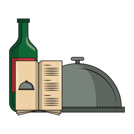 restaurant food and cuisine bottle with wine, food tray and menu icon cartoons vector illustration graphic design Ilustracja