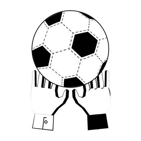 Soccer football sport game goalkeeper gloves with ball vector illustration graphic design Ilustracja