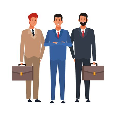 cartoon business men standing and wearing suits over white background, colorful design. vector illustration Illustration