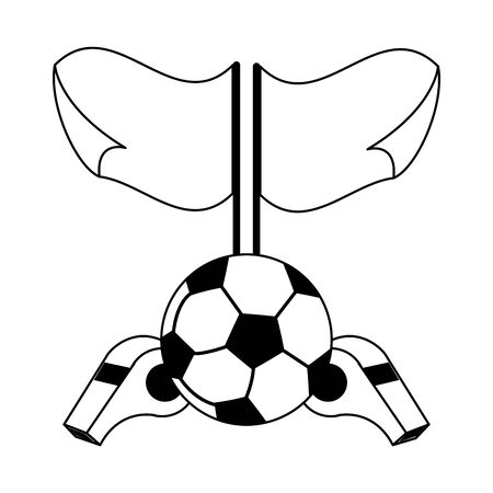 Soccer sport game ball with flags and with whistles isolated vector illustration graphic design