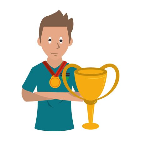 Soccer player holding trophy cup sport game cartoon vector illustration graphic design