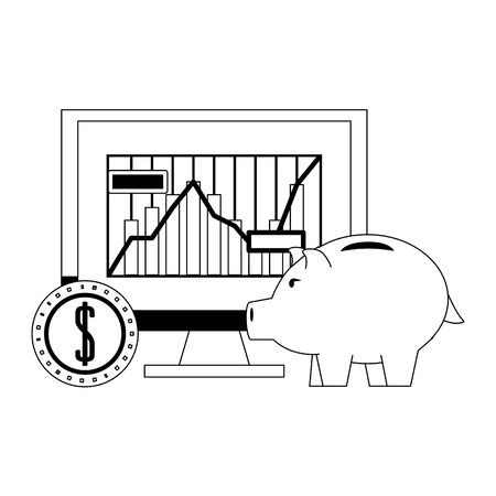 Money piggy and forex investment online from computer in black and white vector illustration