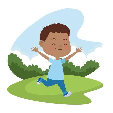 Niños lindos corriendo, sonriendo y divirtiéndose dibujos animados en la naturaleza al aire libre, diseño gráfico de ilustración vectorial. Ilustración de vector