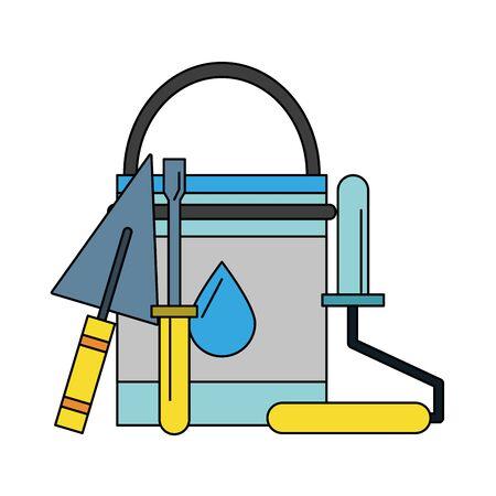 painting work house renovation accessories cartoon vector illustration graphic design Ilustracja