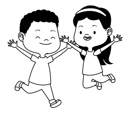 Happy kids boy and girl smiling and playing vector illustration graphic design. Illustration