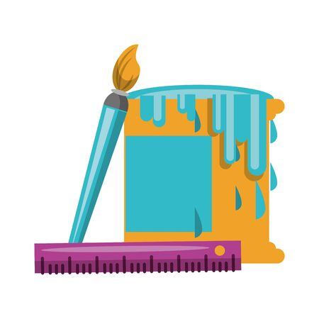 Paint bucket with brush and ruler symbols illustration editable image Ilustracja