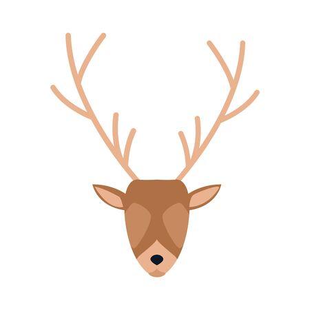 horned deer head icon over white background, colorful design. vector illustration Stock Illustratie