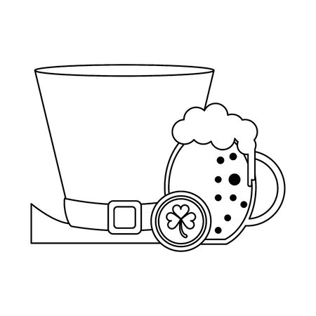 saint patricks day irish tradition leprechaun hat with beer and coin cartoon vector illustration graphic design