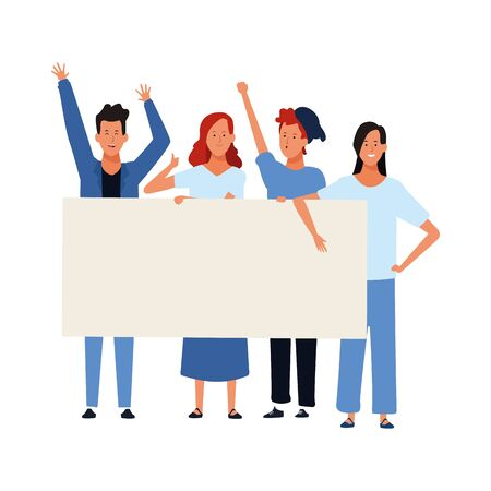 young people standing and raising a blank poster over white background, vector illustration
