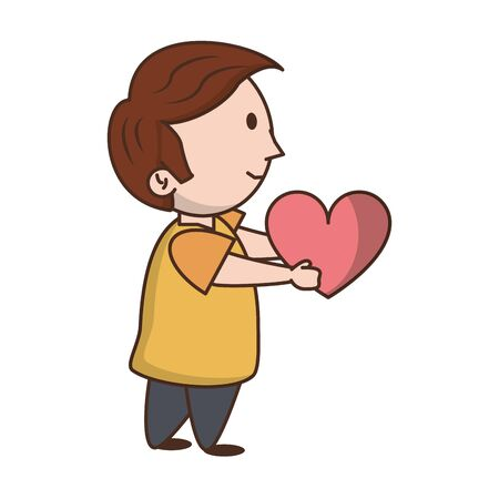 Cute boy with heart cartoon isolated vector illustration graphic design