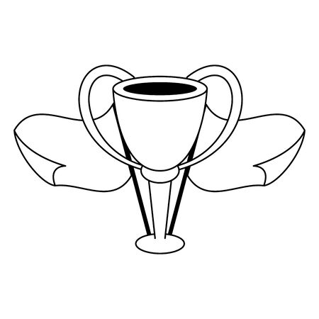Soccer sport game trophy cup with flags isolated vector illustration graphic design