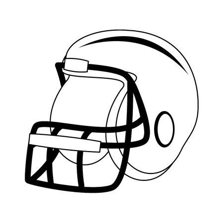 american football sport game helmet uniform protection accessory cartoon vector illustration graphic design