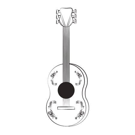 guitar wooden music acoustic instrument cartoon vector illustration graphic design