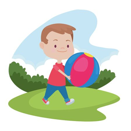 Cute boy children smiling and having fun with ball cartoon at nature outdoors ,vector illustration graphic design.