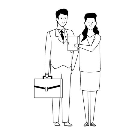 business woman and man standing icon over white background, vector illustration