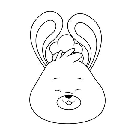 cartoon bunny face with ears up icon over white background, black and white design. vector illustration
